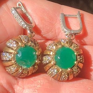 Jewelry - Sterling Leverback Green White Stones Earrings